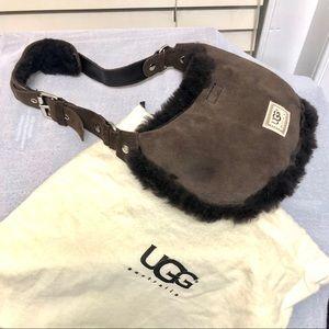 UGG Australia Small Brown Purse Suede Shearling LN